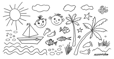 Set of Hand drawn Kids icons. Doodle style. Vector objects from a child's life. Abstract elements for bruchesать