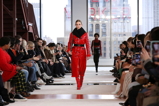 A model presents a creation from the Longchamp collection during New York Fashion Week