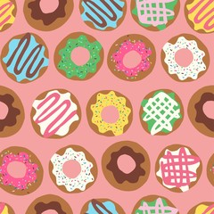 Vector seamless repeat pattern with colourful colorful donuts doughnuts with sprinkles and icing lined up in rows on a peach pink background