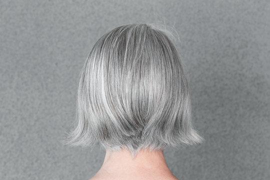 Woman with beautiful natural gray hair