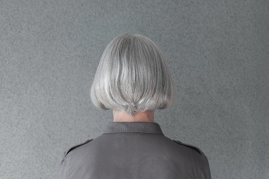Mature woman with natural gray hair