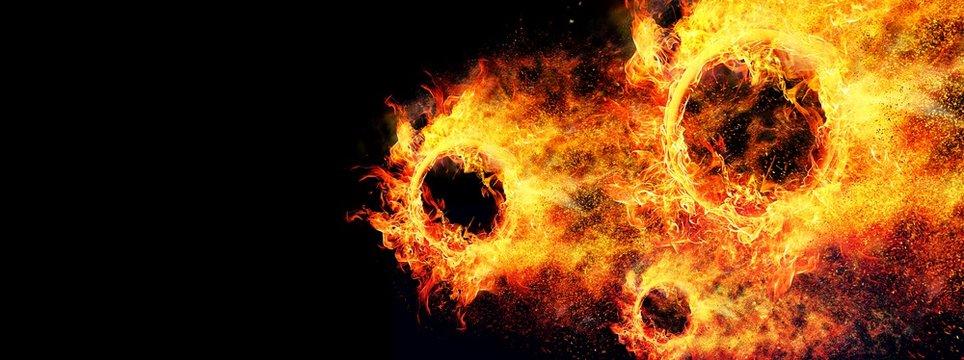 凄い速さで飛行する抽象的な火の玉