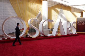 Preparation for the 92nd Academy Awards continues along the red carpet area in Los Angeles
