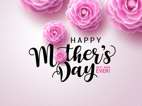 Happy mother's day vector concept design. Mother's day greeting typography text with camellia flowers in pink background for mothers day celebration. Vector illustration