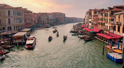 View along the Grand Canal with Gondolas - Venice