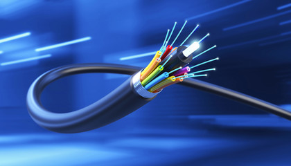 Connection of Optical fiber cable, technology background, 3d illustration.