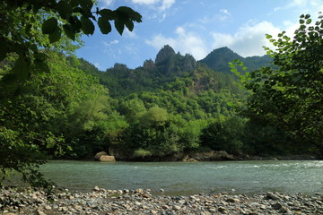 Photo of a mountain river. White water. Fast current. On the other side is a forest. In the background rock massif. Adygea. Caucasus