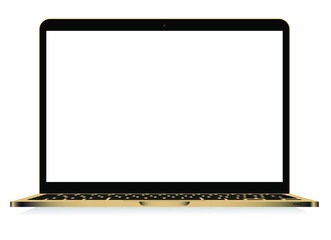 Laptop with gold colour isolated vector. Gadget illustration vector. Modern computer, laptop, smartphone on a white background vector