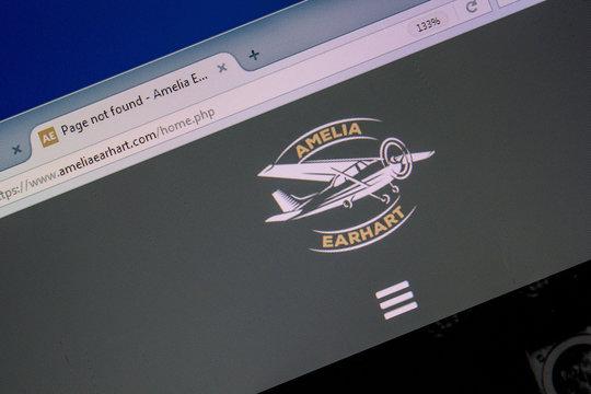Ryazan, Russia - July 08, 2018: AmeliaEarhart.com website on the display of PC.