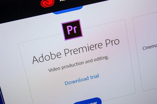 Ryazan, Russia - July 11, 2018: Adobe Premiere Pro, software logo on the official website of Adobe.