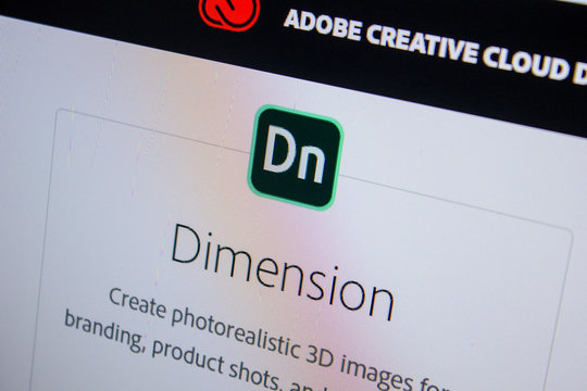 Ryazan, Russia - July 11, 2018: Adobe Dimension, software logo on the official website of Adobe.