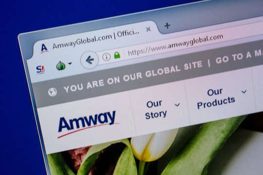 Ryazan, Russia - July 11, 2018: AmwayGlobal.com website on the display of PC.