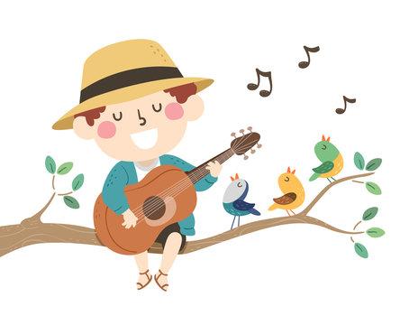 Kid Boy Spring Birds Sing Illustration