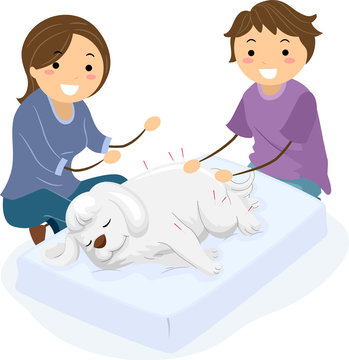 Stickman Dog Acupuncture Therapy Illustration