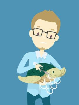 Man Sea Turtle Plastic Rings Cans Illustration