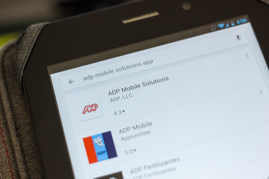 Ryazan, Russia - July 03, 2018: ADP Mobile Solutions icon in the list of mobile apps.