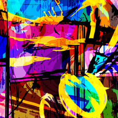 Stores à enrouleur Graffiti color abstract ethnic pattern in graffiti style with elements of urban modern style