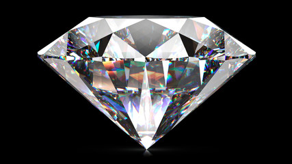 Sparkling light round brilliant cut diamond with shadow. 3D rendering illustration isolated on black background.