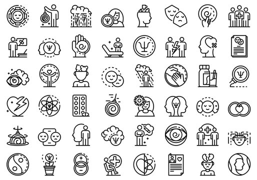 Psychologist icons set. Outline set of psychologist vector icons for web design isolated on white background