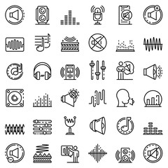 Acoustics icons set. Outline set of acoustics vector icons for web design isolated on white background