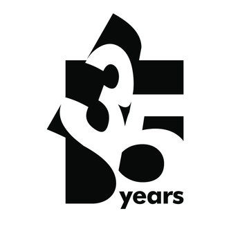 Isolated abstract logo 35 years. In the form of an open book, magazine. Happy greeting card for the 35 th birthday. Black color writing on white background.