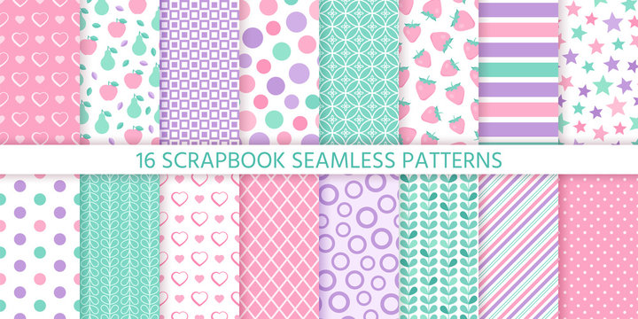 Scrapbook background, seamless pattern. Vector. Cute paper for scrap design. Chic print with heart, polka dot, stripe, fruit, check, star. Trendy modern texture. Color illustration. Geometric backdrop