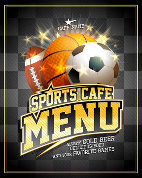 Sports cafe menu card design template with football, basketball and rugby balls