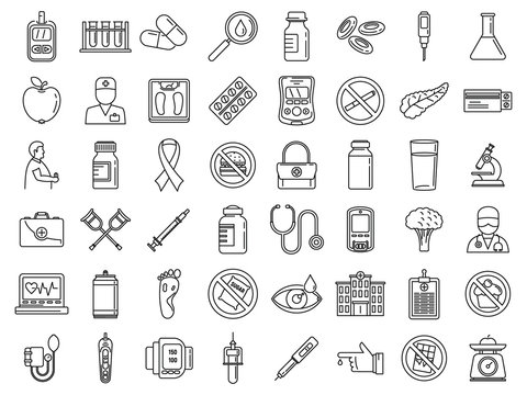 Diabetes care icons set. Outline set of diabetes care vector icons for web design isolated on white background