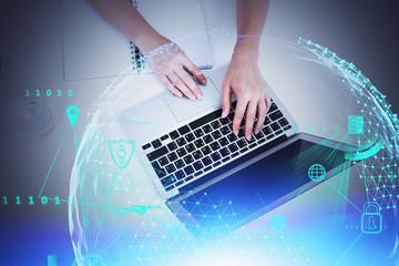 Fotobehang - Woman hands typing, big data interface