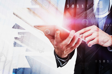 Fotobehang - Businessman with tablet, big data interface