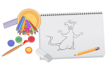 Foto op Aluminium Babykamer A Notebook with a Drawing of a Cartoon Rat