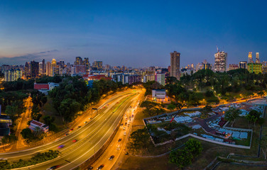 Foto op Canvas Seoel Panorama view of a residential area during sunset, Singapore southern centre, overlook the central CBD