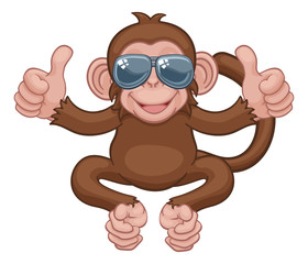 A monkey cool cute happy cartoon character animal wearing sunglasses giving a double thumbs up