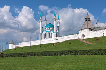 Qol Sharif Mosque in Kazan Kremlin in summer sunny day, Republic of Tatarstan, Russia. This is one of the largest mosques in Russia, and in Europe outside of Istanbul.