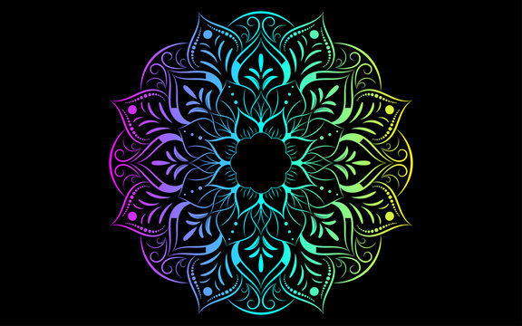 Circle pattern petal flower of mandala with multi color,Vector floral mandala relaxation patterns unique design with black background,Hand drawn pattern,concept meditation and relax