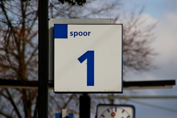 Platform number 1 on blu and white sign at station 't Harde  in the Netherlands