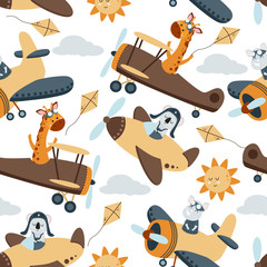 seamless pattern with aviator animals and sun - vector illustration, eps