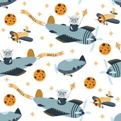 seamless pattern with hippo pilot in the sky - vector illustration, eps