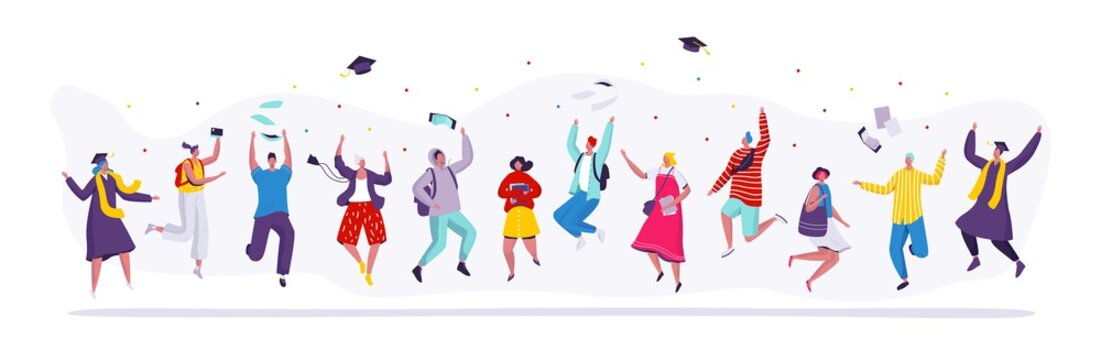 Happy people jumping graduation students, cartoon characters vector illustration. Set of isolated figures of jumping men and women, college students celebrating graduation party. Modern flat style