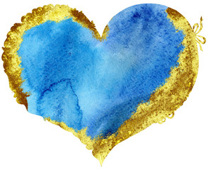 watercolor blue heart with with gold strokes