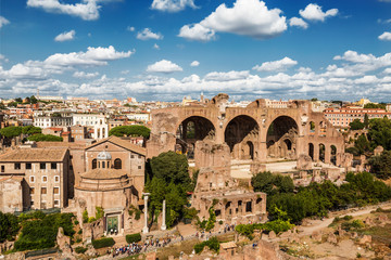 The ruins of the Roman forum with the Basilica of Maxentius and Constantine, Rome, Italy