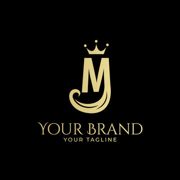 M initial logo with hair and crown in elegant style
