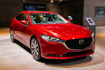 BRUSSELS - JAN 9, 2020: New Mazda 6 Luxury Saloon car model showcased at the Brussels Autosalon 2020 Motor Show.