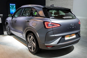 BRUSSELS - JAN 9, 2020: New Hyundai Nexo hydrogen fuel cell powered crossover SUV car model showcased at the Brussels Autosalon 2020 Motor Show.