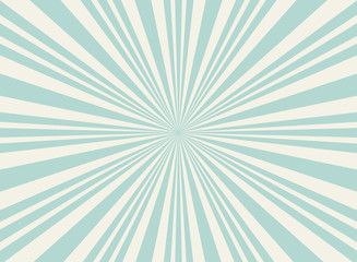 Sunlight wide retro faded background. Pale blue and beige color burst background.