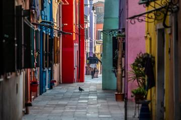 Canvas Prints Narrow alley Burano, Venice, Italy