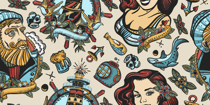Sea adventure seamless pattern. Nautical art. Old school tattoo style. Sea wolf captain, lighthouse and sailor girl. Traditional tattooing concept