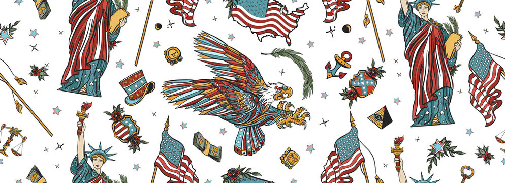 United States of America seamless pattern. Old school tattoo style. Statue of liberty, eagle, flag, map. History and culture. USA patriotic background