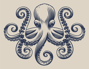 Vintage illustration with an octopus for seafood theme