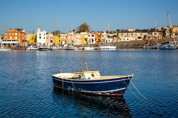 Procida (Italy) - Chiaiolella bay with its colored houses is a tourists attraction